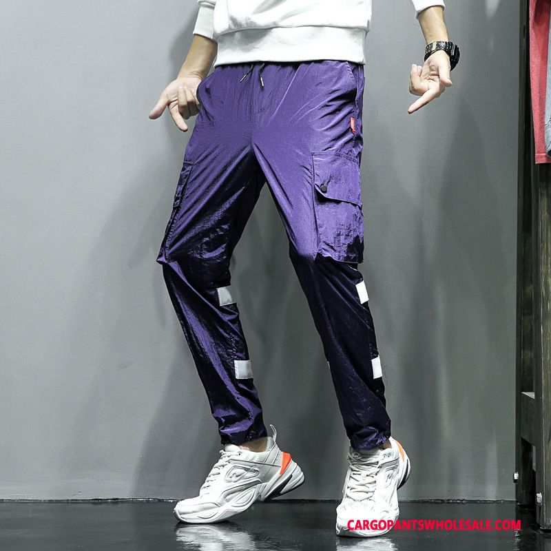 Cargo Pants Male Green Purple Thin Section Personality Leisure Autumn Quick Drying
