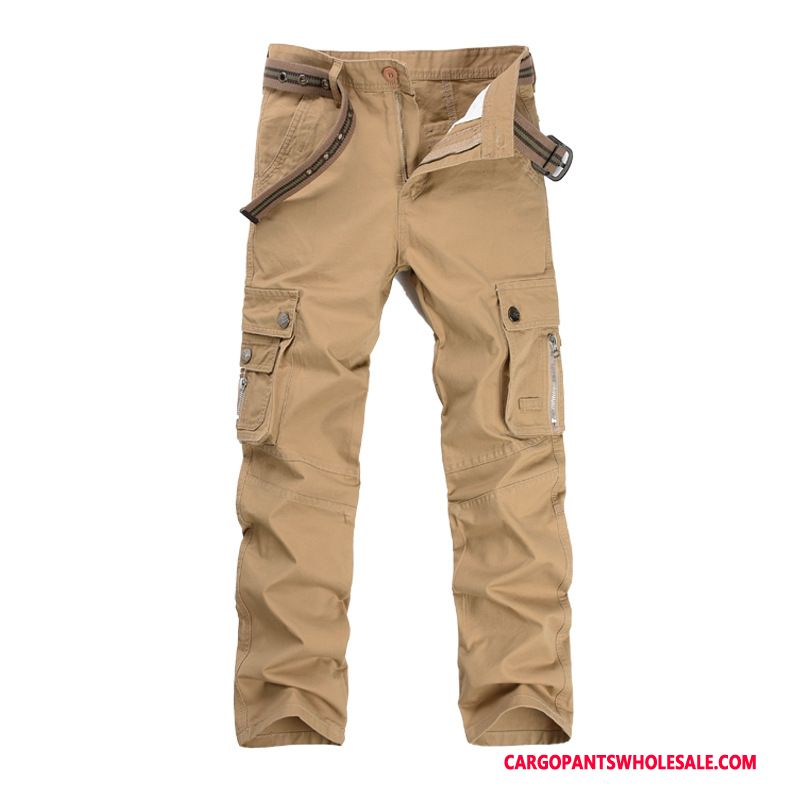 Cargo Pants Male Khaki Cargo Pants Trousers Men Straight Mid Waist Leisure