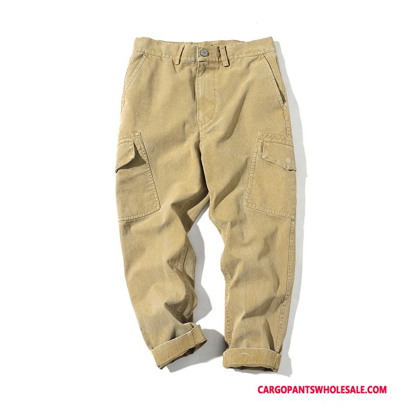 Cargo Pants Male Khaki Green Casual Pants Big Pocket Straight Solid Color Loose