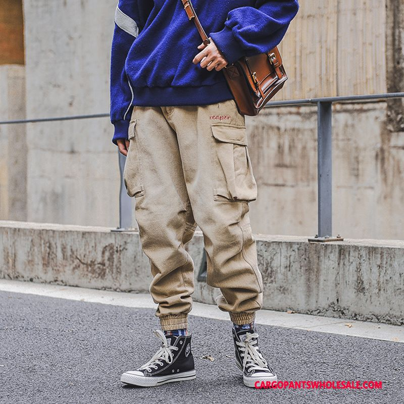 Cargo Pants Male Khaki Green Trend Winter Men Embroidered Trousers Thicken