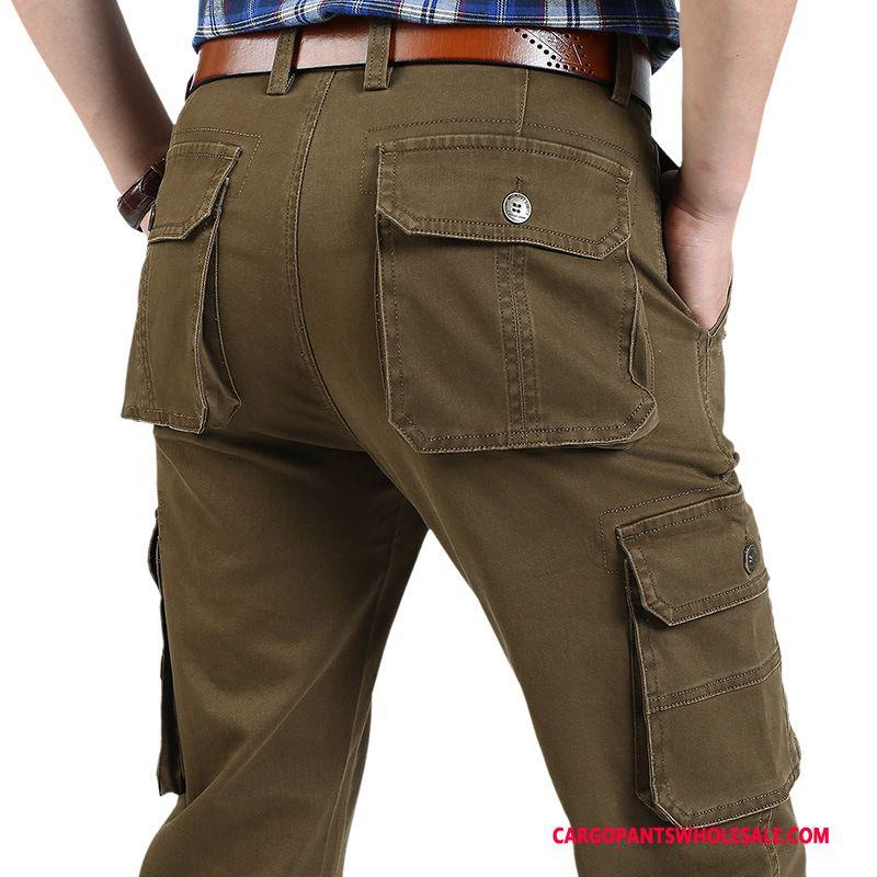 Cargo Pants Male Khaki Large Size Leisure Men Autumn Loose Multiple Pockets