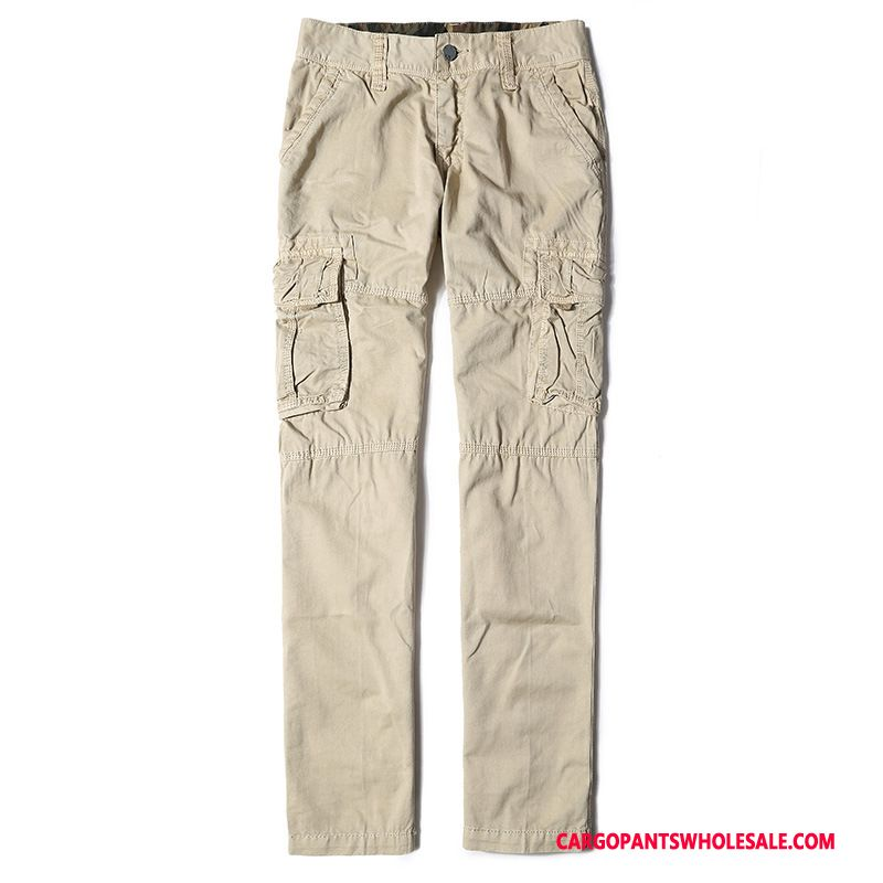 Cargo Pants Male Khaki Multi-pocket Cargo Pants Men Autumn Straight Europe