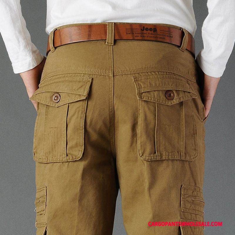 Cargo Pants Male Khaki Pants All Match Men Trousers Straight High Waist