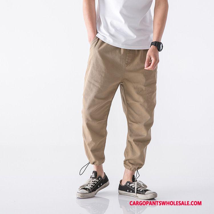 Cargo Pants Male Khaki Simple Loose Men Pants Trend Summer