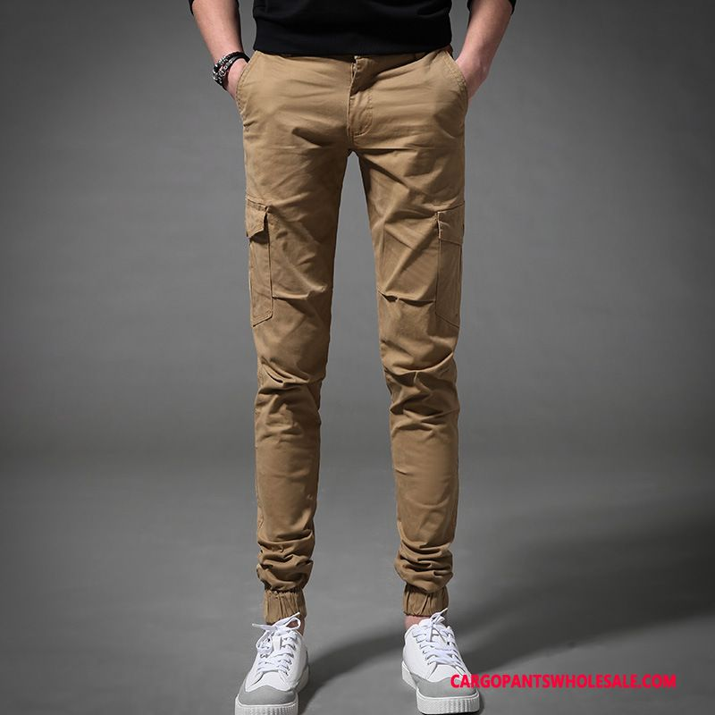 Cargo Pants Male Khaki Spring Multi-pocket Men Casual Pants Cargo Solid Color