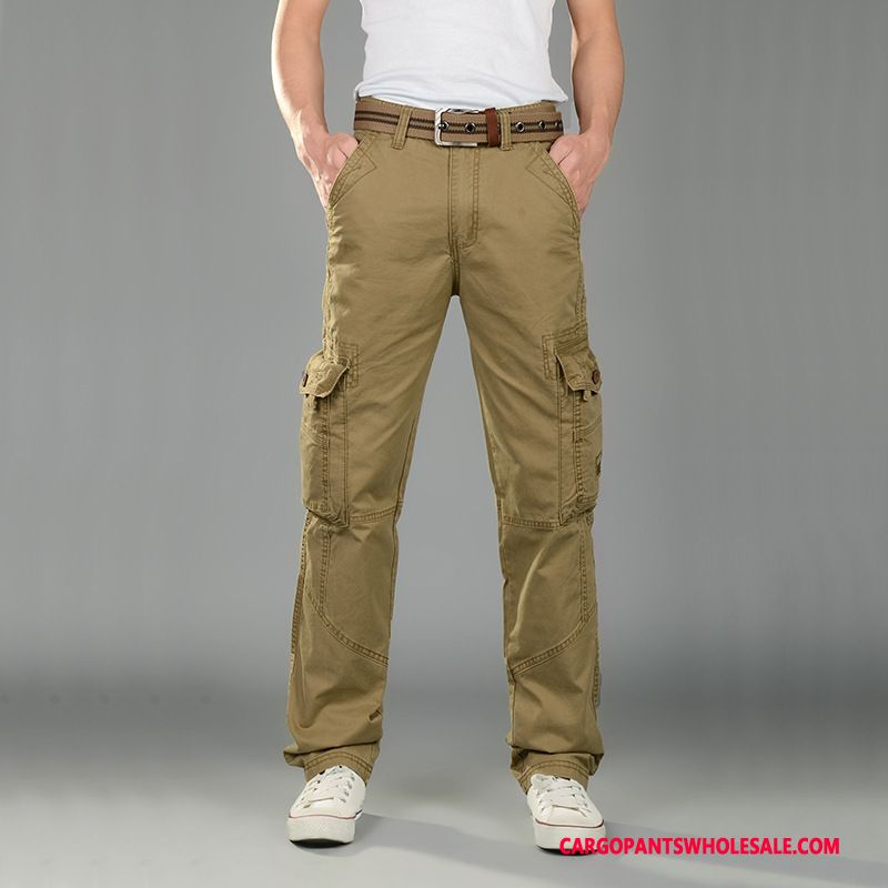 Cargo Pants Male Khaki Straight Cargo Pants Men Multi-pocket Casual Pants Leisure