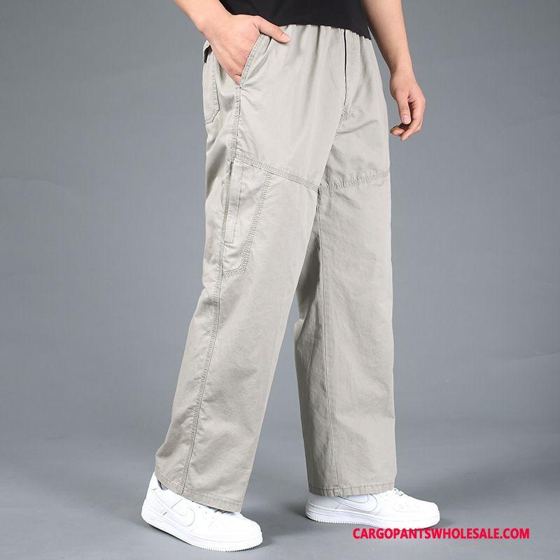 Cargo Pants Male Khaki Trousers Pants Men Solid Color High Waist Cotton