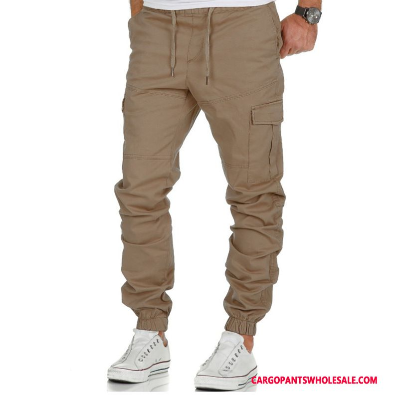 Cargo Pants Male Khaki Woven Multi-pocket Men Cargo Motion Trousers