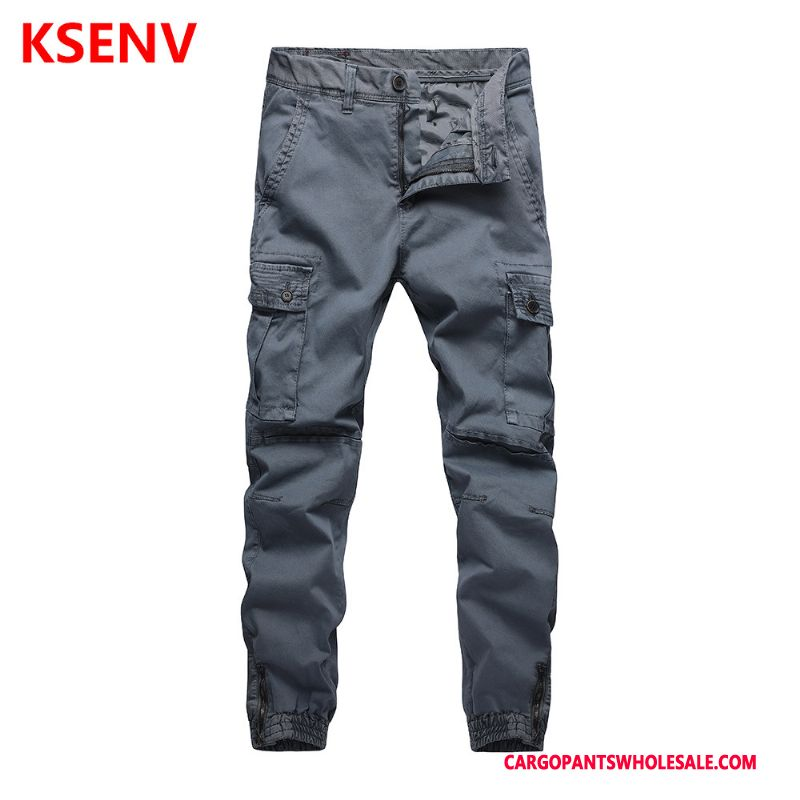 Cargo Pants Male Light Gray Multi-pocket Solid Color Men Loose Trousers Cargo Pants