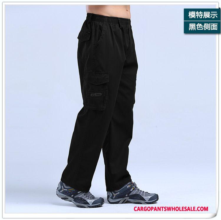 Cargo Pants Male Light Gray Plus Size High Waist Trousers Thin Leisure