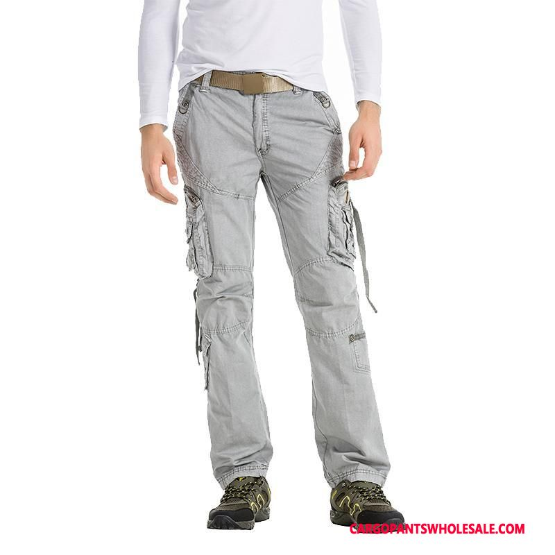 Cargo Pants Male Light Gray Trousers Winter Men Autumn Cargo Pants Big Pocket