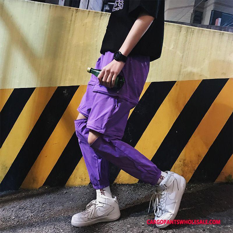 Cargo Pants Male Purple Design Detachable Men Zipper Cargo Pants