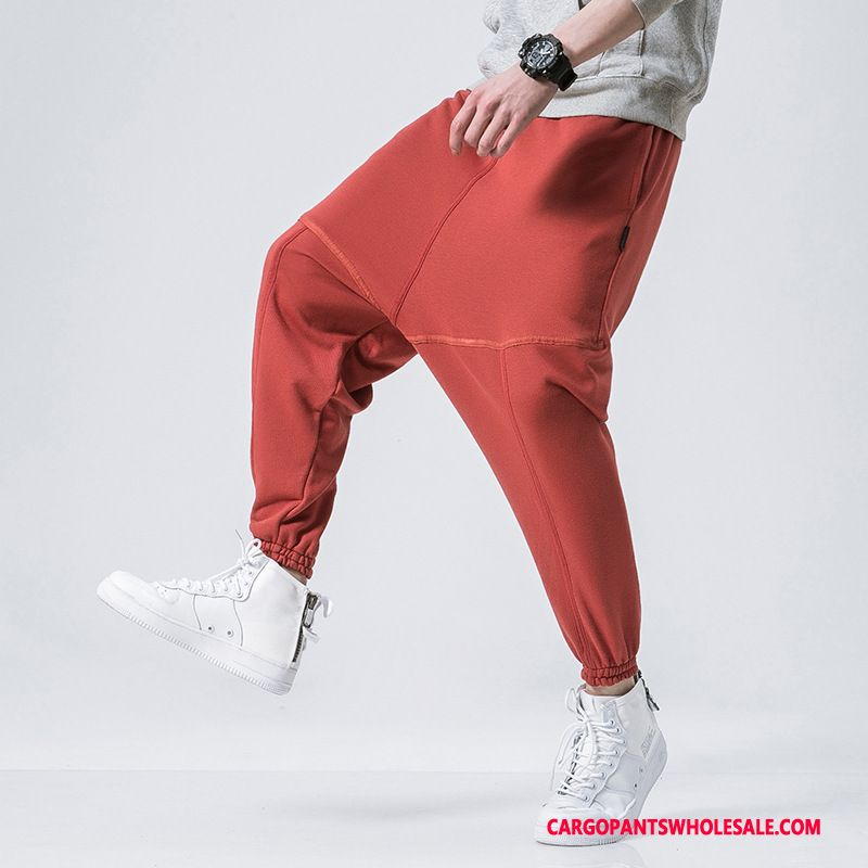 Cargo Pants Male Red Cargo Pants Fat Men Casual Pants Tide Small