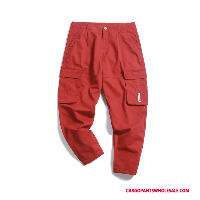 Cargo Pants Male Red Cargo Pants The New Summer Spring Multi-pocket