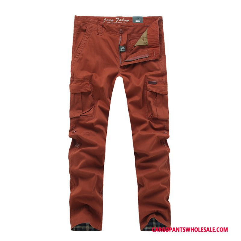 Cargo Pants Male Red Cotton Cargo Pants Men Trousers Multi-pocket The New