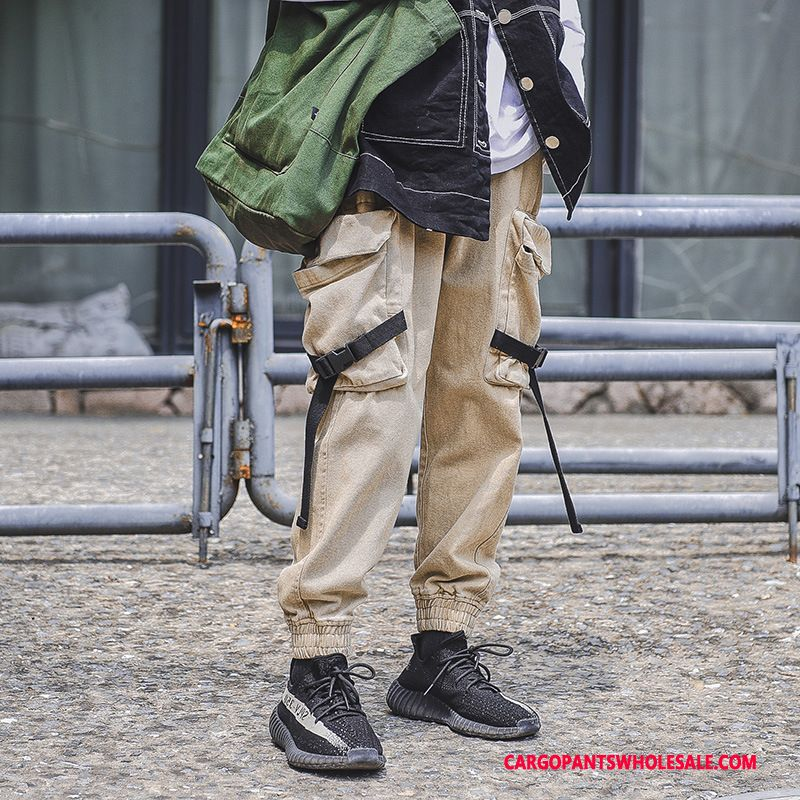 Cargo Pants Male Red Green Loose Mid Waist Cargo Beam Foot Trousers
