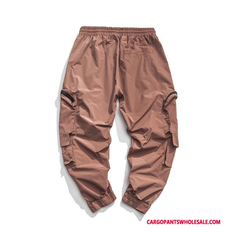 Cargo Pants Male Red Leisure Pants Cargo Pants Elastic Autumn
