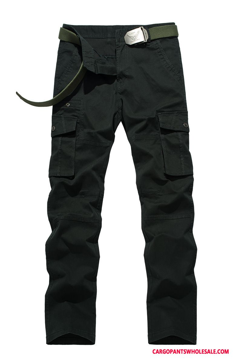 Cargo Pants Male Red Multi-pocket Trousers Men Straight Autumn Leisure