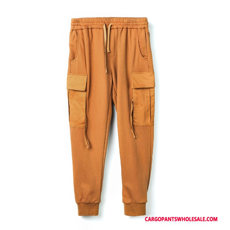 Cargo Pants Male Yellow Green Trend Spring Men Pocket Cargo Pants Personality