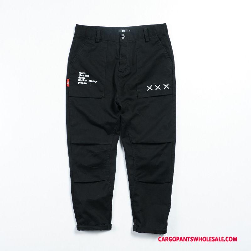 Cargo Pants Men Black Cargo Pants Embroidery Design Summer Casual Pants