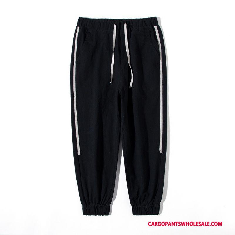 Cargo Pants Men Black Solid Color Lace Pants Autumn Cargo Pants