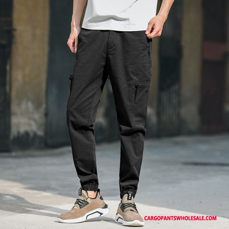 Cargo Pants Men Black Spring Summer Beam Foot Thin Section Solid Color