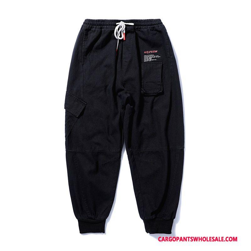 Cargo Pants Men Black Tide Brand Summer Loose Trousers Tide