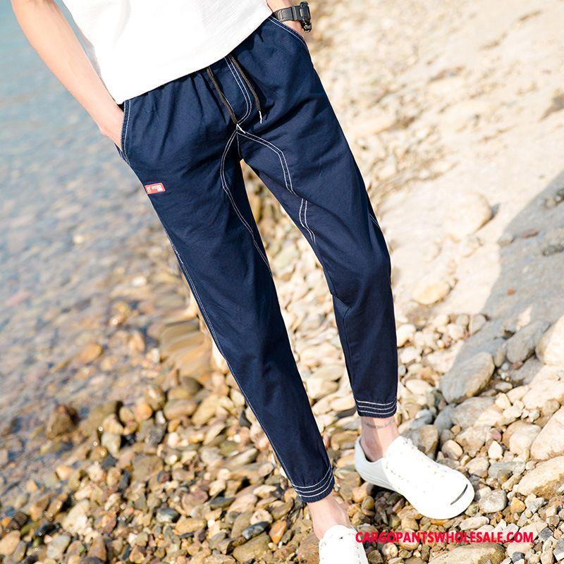 Cargo Pants Men Blue Loose Cargo Pants Tide Brand Casual Pants Small