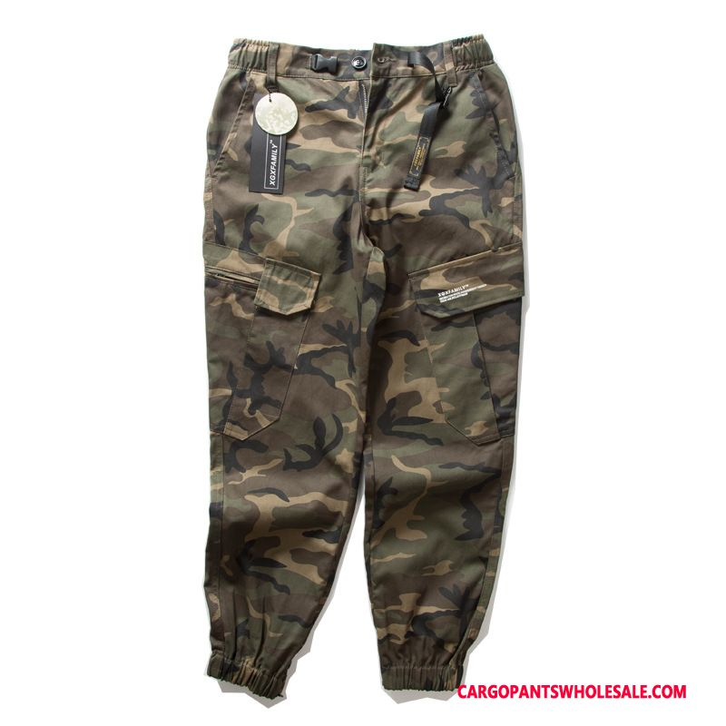 Cargo Pants Men Camouflage Beam Foot Pants Cargo Trousers Multi-pocket