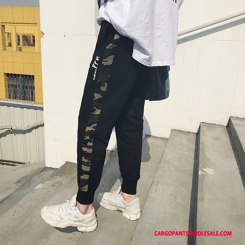 Cargo Pants Men Camouflage Black Pants Student Loose Beam Foot All Match