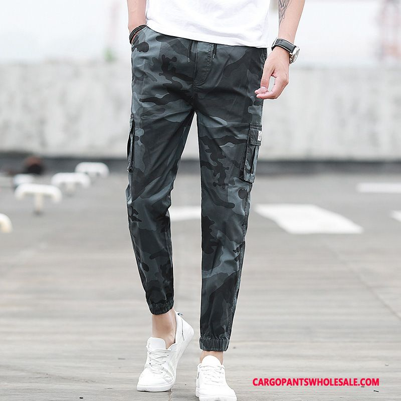 Cargo Pants Men Camouflage Deep Gray Beam Foot Cargo Summer Spring Casual Pants