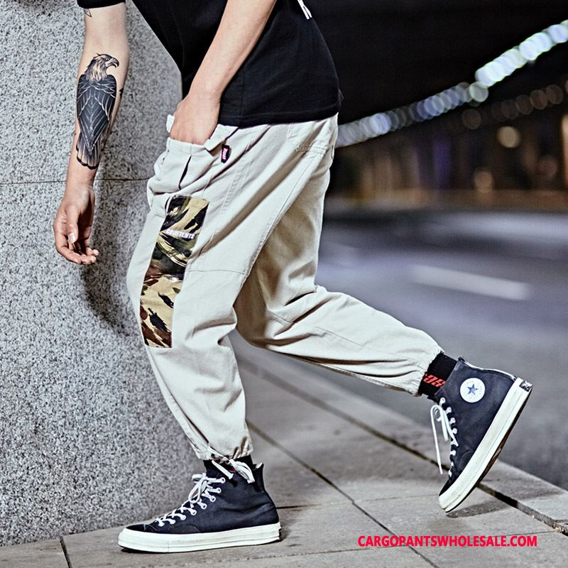 Cargo Pants Men Camouflage Gray Cargo Multi-pocket Loose Beam Foot Tide Brand