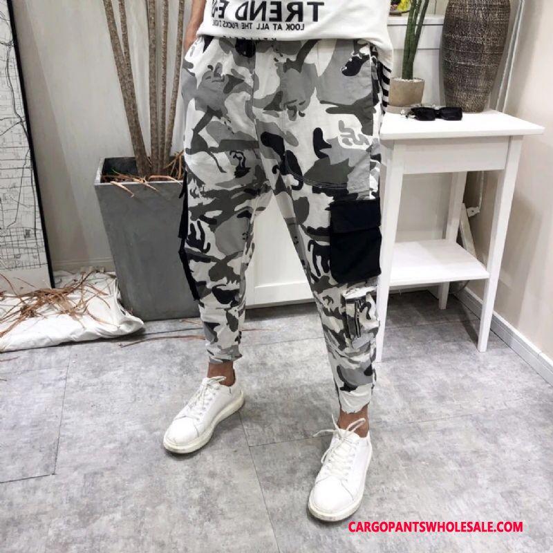Cargo Pants Men Camouflage Gray Loose Pants Tide Tide Brand Hip Hop