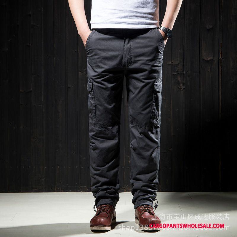 Cargo Pants Men Camouflage Green Gray Straight Trousers Pants Casual Pants Cotton