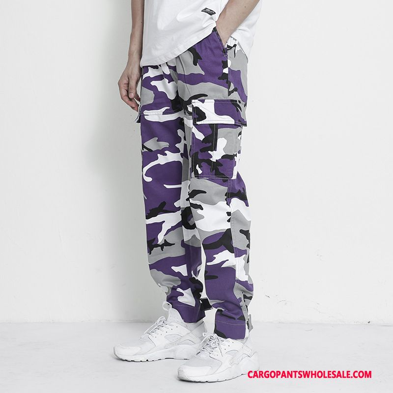 Cargo Pants Men Camouflage Green Purple Beam Foot Cargo Pants Summer Juvenile Tide