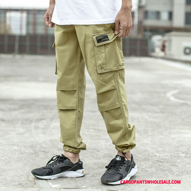 Cargo Pants Men Camouflage Khaki Jogging Straight Loose Washed Casual Pants