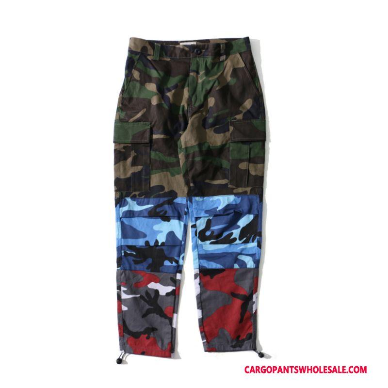 Cargo Pants Men Camouflage Yellow Purple Powder Casual Pants Tide Outdoor Cargo Pants Cotton