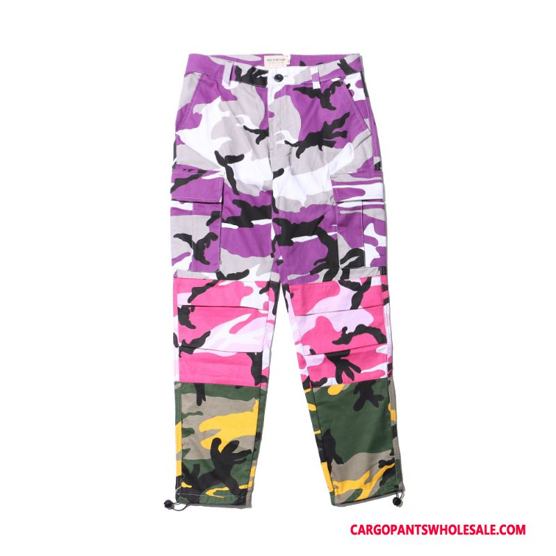 Cargo Pants Men Camouflage Yellow Purple Powder Casual Pants Tide Outdoor Cargo Pants Cotton