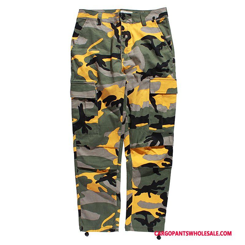Cargo Pants Men Camouflage Yellow Summer Loose Europe Cargo Tide Brand