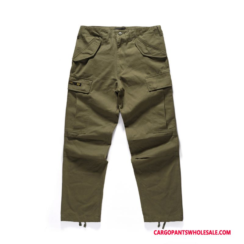 Cargo Pants Men Green Casual Pants Cargo Solid Color Loose Long