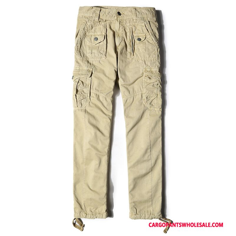 Cargo Pants Men Khaki Large Size Cargo Pants Trousers Multi-pocket Loose