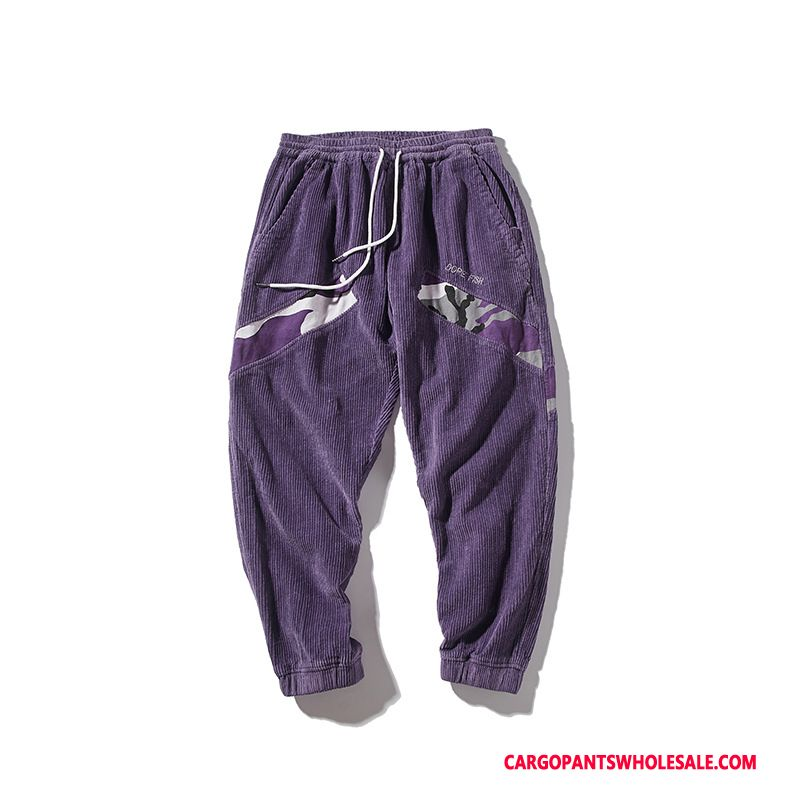 Cargo Pants Men Purple Distressed Washed Pants Cargo Pants Corduroy