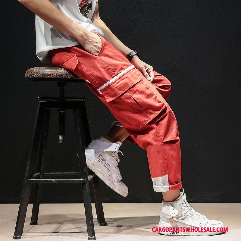 Cargo Pants Men Red Casual Pants Splice Large Size Harlan Loose