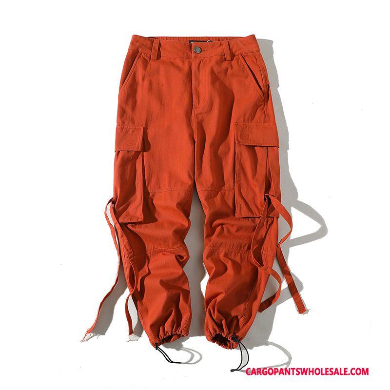 Cargo Pants Men Red Pants Explosion Big Pocket Ribbon Leisure