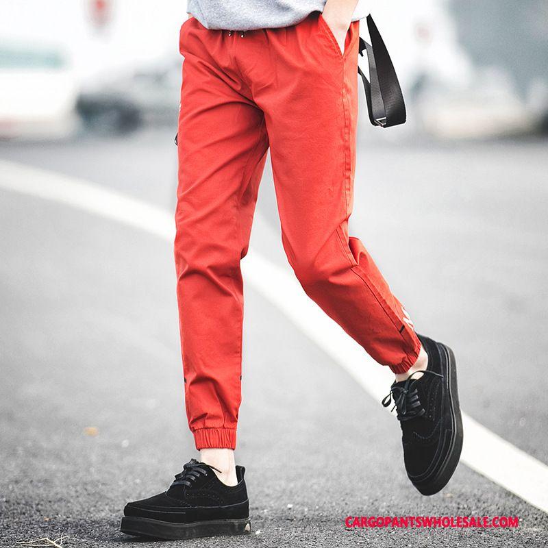 Cargo Pants Men Red Spring Autumn Beam Foot Career Loose