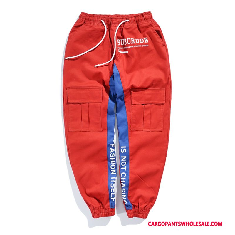 Cargo Pants Men Red Student Leisure Splice Retro All Match