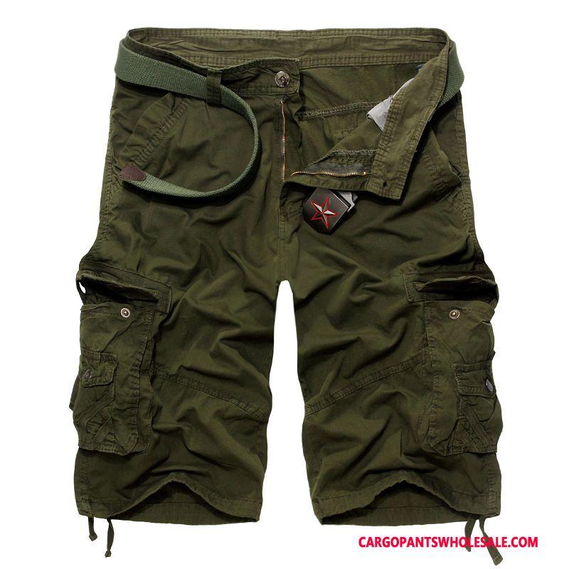 Cargo Shorts Mannelijk Leger Groen Halflang Meer Zakken Heren Trend Nieuw Korte Broek