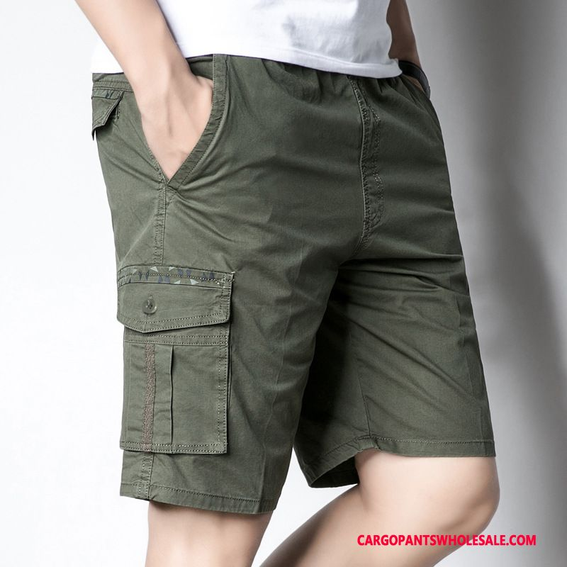 Cargo Shorts Male Army Green Deep Loose Shorts Men Multiple Pockets Summer Beach