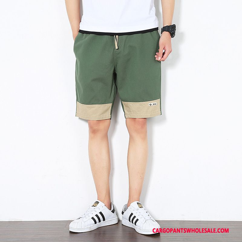 Cargo Shorts Male Army Green Green Cargo Pants The New Men Thin Section Splice Shorts