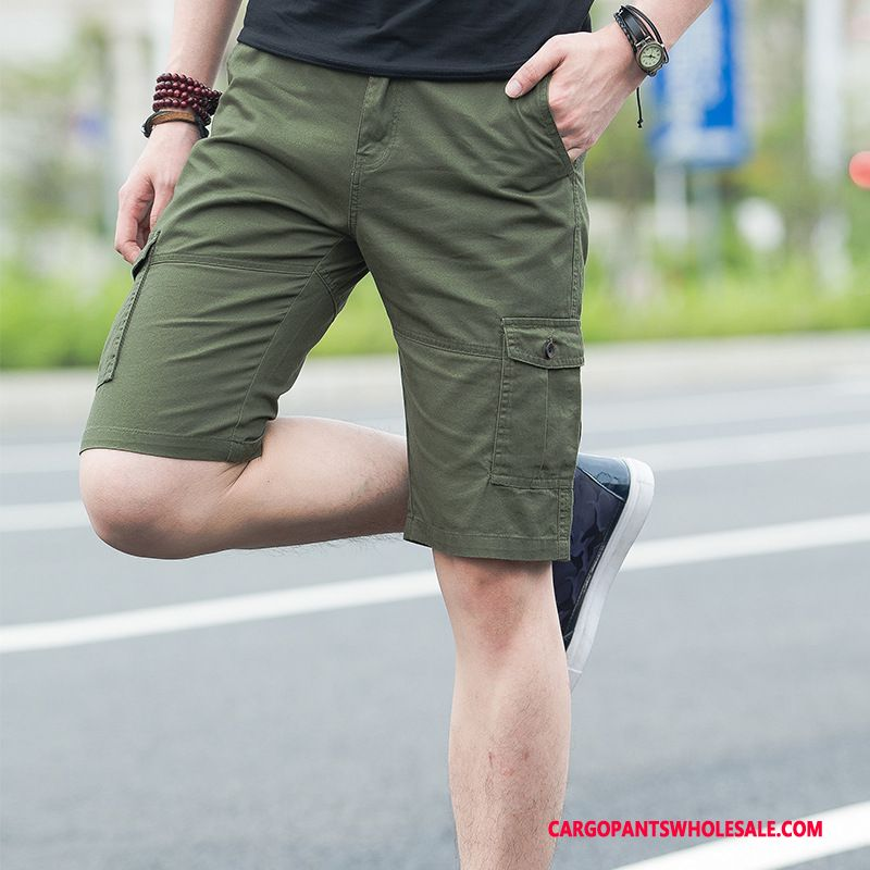 Cargo Shorts Male Army Green Green Shorts Beach Thin Section Loose Capri Pants